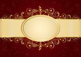 赤の背景にゴールデン フレーム — ストックベクタ