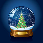 Snow globe with Christmas tree — Cтоковый вектор