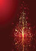 červené pozadí s vánoční stromeček — Stock vektor