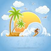 Tropisch eiland — Stockvector