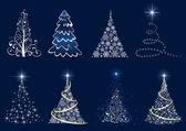 Satz von weihnachtsbaum — Stockvektor