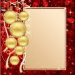 Background with card and Christmas balls - Stock Vector