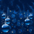 Stock Vector: Christmas background with blue balls