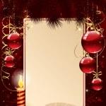 Kerstmis achtergrond met kaars en ballen — Stockvector