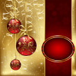 Christmas background with three red balls — Stok Vektör
