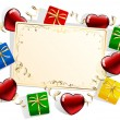 Stock Vector: Card with gift boxes and hearts