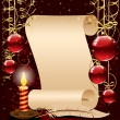 Christmas background with candle, paper and feather — Stock Vector