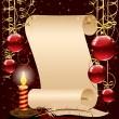 Kerstmis achtergrond met kaars, papier en veer — Stockvector
