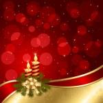 Новогодний фон с зажженными свечами — Cтоковый вектор