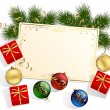 Christmas card with gift boxes — Vector de stock