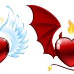 Good vs evil hearts — Stock Vector