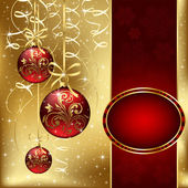 Christmas background with three red balls — Stock Vector