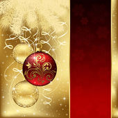 Elegant background with three Christmas balls — Stockvector