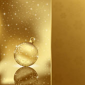 Elegant christmas background with golden ball — Stock Vector