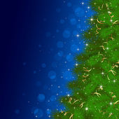 Christmas tree on blue background with blurry lights — Stockvektor