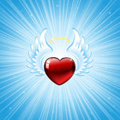 Heart on blue background — Vecteur
