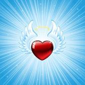 蓝色背景上的心 — 图库矢量图片