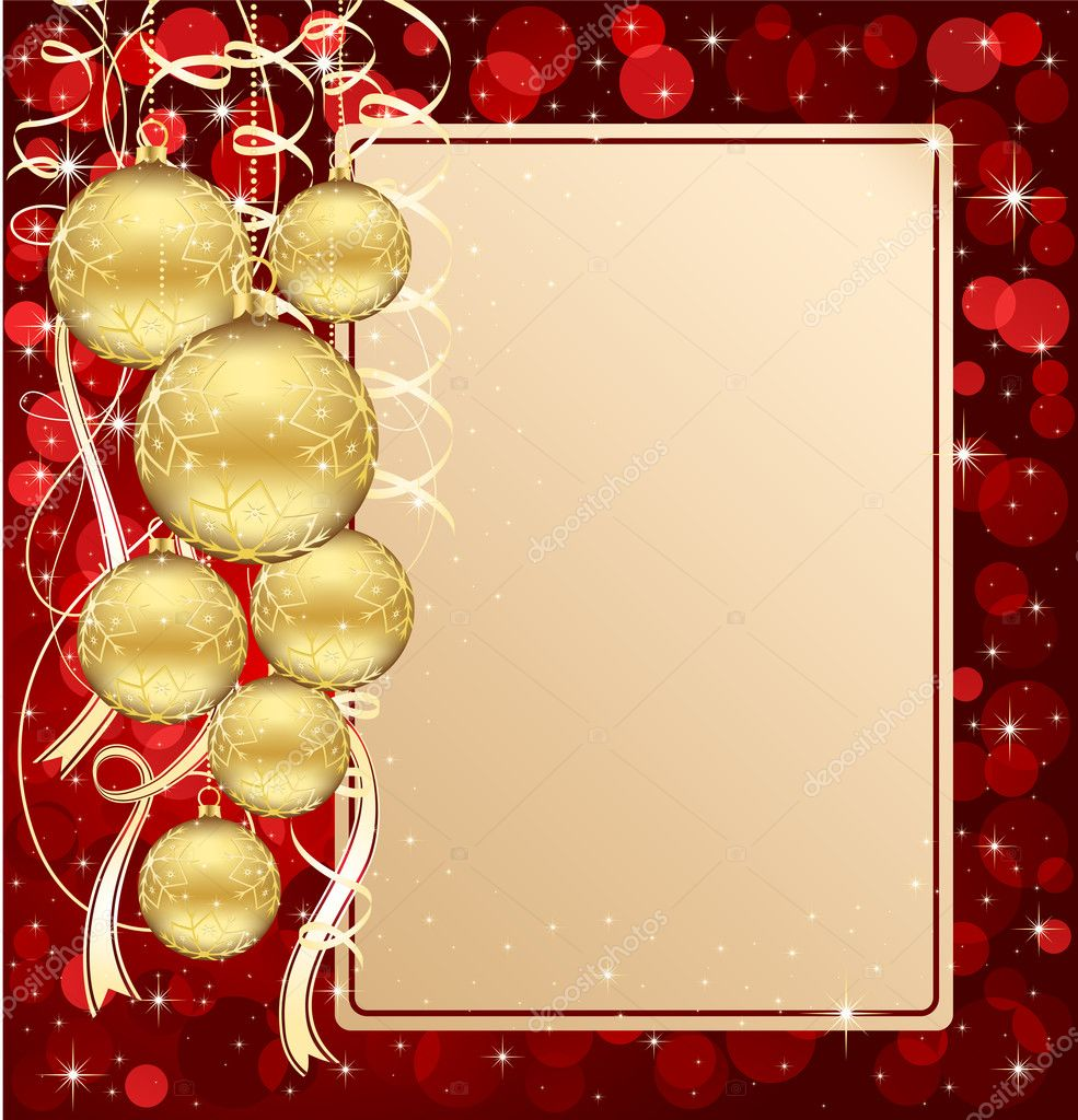 Background with stars and Christmas balls, illustration — Vektorgrafik #10728238