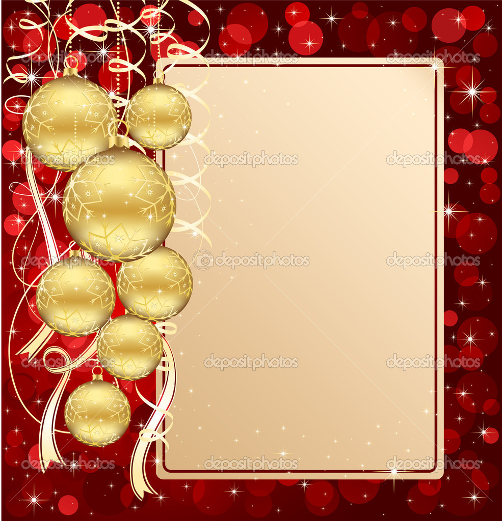 Background with stars and Christmas balls, illustration — Imagen vectorial #10728238
