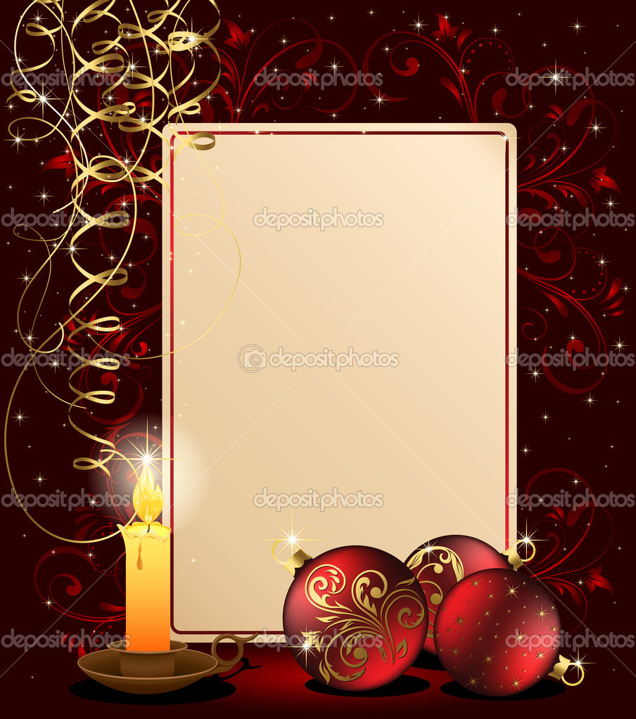 Background with candle, Christmas balls and stars, illustration — Vektorgrafik #10728278