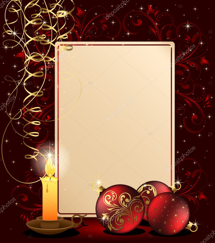 Background with candle, Christmas balls and stars, illustration — Vettoriali Stock  #10728278
