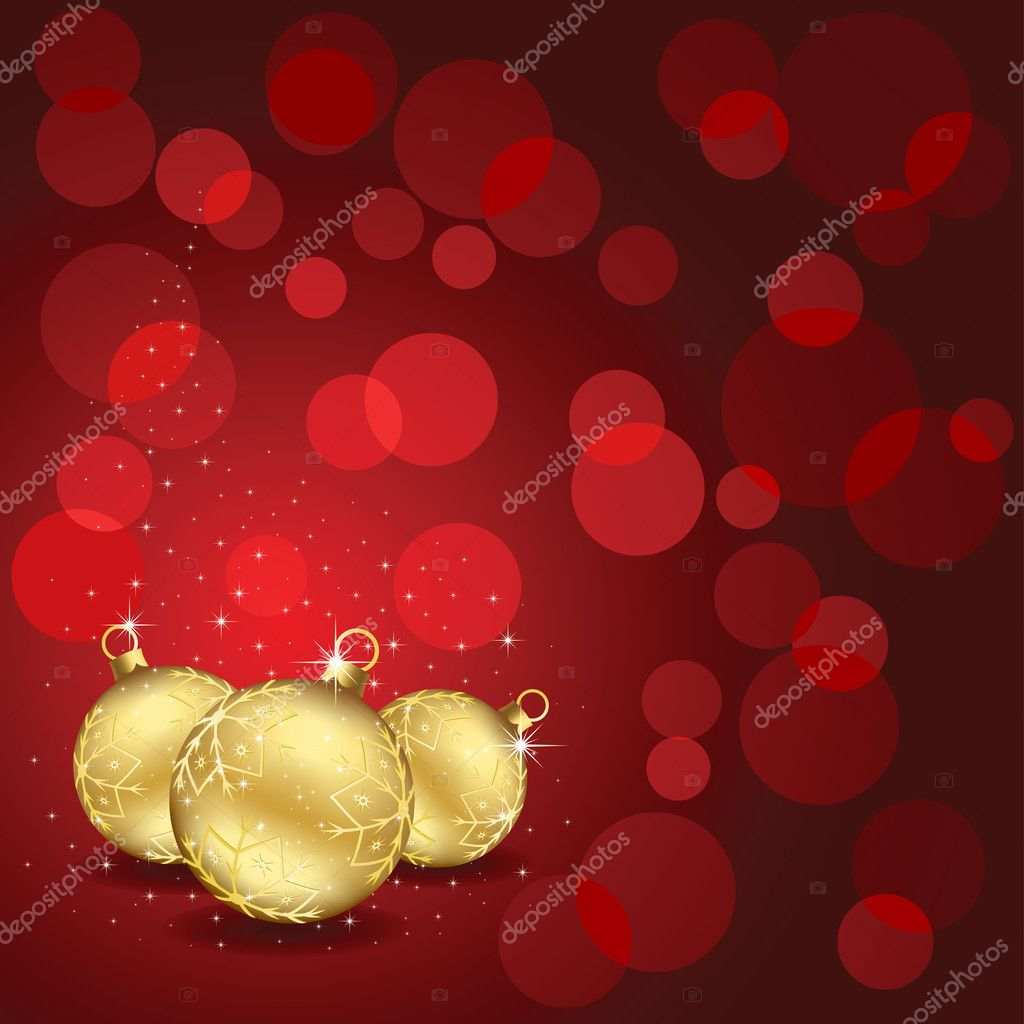 Background with stars and Christmas balls, illustration — Stock Vector #10728318