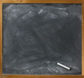 Used blank blackboard and chalk straight on ready for your copy — Stock Photo