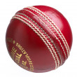 Cricket ball on white - Stock Photo
