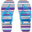 Stock Photo: Pair of stripey flip flops isolated on white background with c