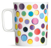 Side view of a spotty tea coffee mug isolated on a white backgro — Stock Photo