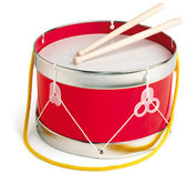 Toy drum isolated on white with a clipping path — Stock Photo
