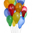 Bunch of colorful helium balloons with clipping path 4 — Stock Photo