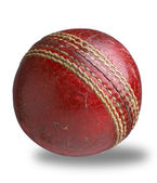 Old worn used cricket ball isolated with clipping path — Stock Photo