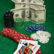 Blackjack with gambling chips — Stock Photo