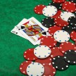 Stock Photo: Blackjack with gambling chips