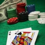 Blackjack with gambling chips — Stock Photo