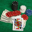 Blackjack with gambling chips — Stock Photo #10314209