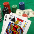 Blackjack with gambling chips - Stock Photo