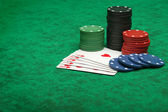 Royal Flush with gambling chips — Stock Photo