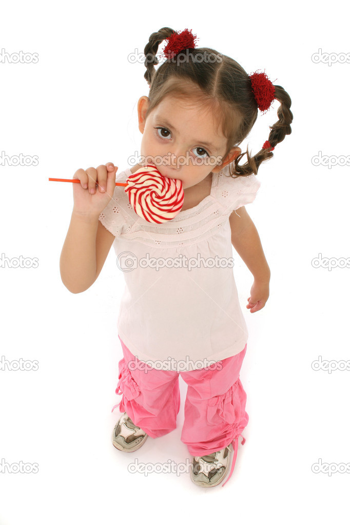 Little girl holding a lollypop with different expressions and emotions. — Stock Photo #10359704