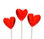 Three heart shaped lollipops for Valentine — Stock Photo