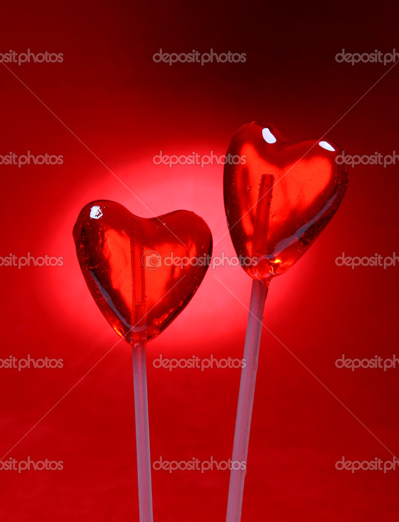 Two heart shaped lollipops for Valentine&#039;s Day from my Valentine series  Stock Photo #10421710