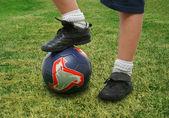 Närbild på en fotbollsspelare — Stockfoto