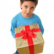 Boy with a christmas gift — Stock Photo