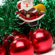 Santa and christmas balls — Stock Photo