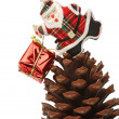 Santa with gift box over a pine cone — Stock Photo