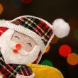 Foto Stock: Happy Santa, christmas lights background
