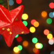 Christmas star on a tree branch — Foto de Stock