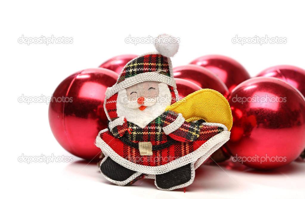 Santa and christmas balls. Christmas series  Stock Photo #10499156