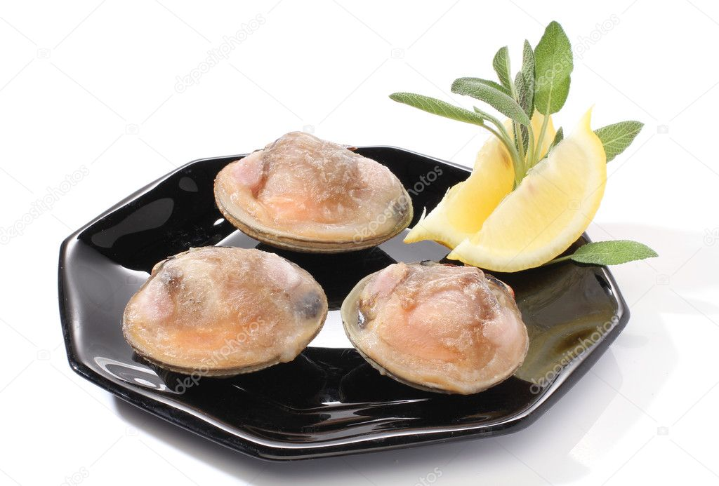 Three clams with lemon over white  Stock Photo #10613649